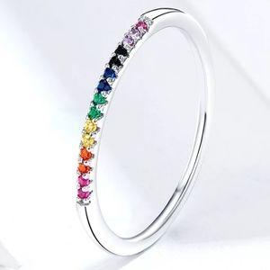 925 Silver 🌈 Rainbow Minimal Band Tiny Stackable